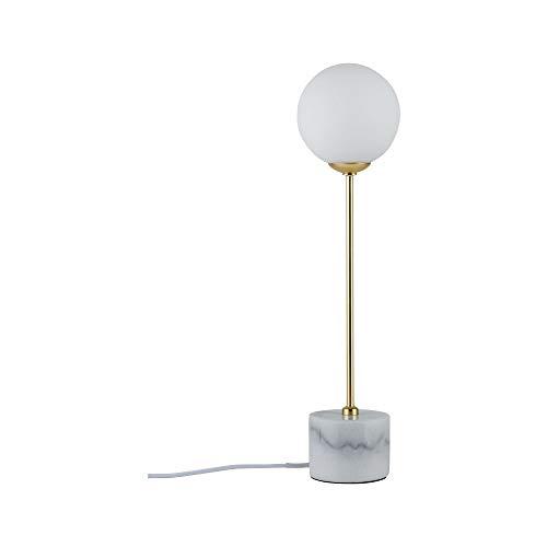 Paulmann 79661 Neordic Moa Tischleuchte max. 1x10W Tischlampe für G9 Lampen Nachttischlampe Weiß/Gold matt 230V Glas/Marmor/Metall ohne Leuchtmittel