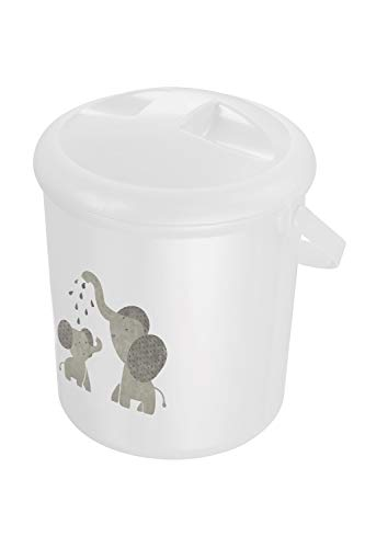 Rotho Babydesign Cubo para Pañales, 10 l, A partir de 0 Meses, Modern Elephants Bella Bambina, Blanco, 200210001CG