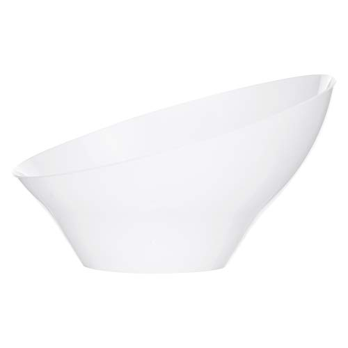 Plasticpro Disposable Angled Plastic Bowls Round Large Serving Bowl, Elegant for Partys, Snack, or Salad Bowl, White, Pack of 4