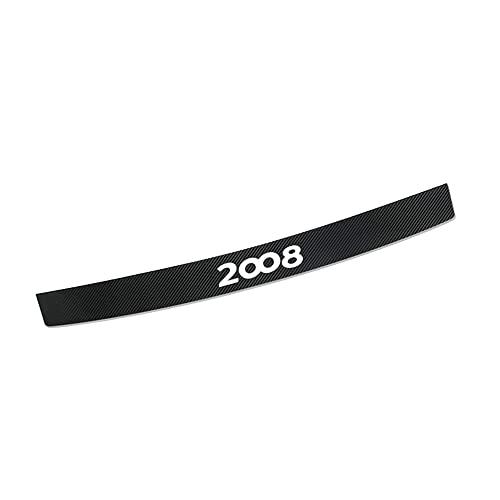 CAXCLPT Coche Protección Fibra Carbon Parachoques, para Peugeot 2008 Umbral Pegatinas Tira de Protección Maletero Antirrayas Decorativas Accessories
