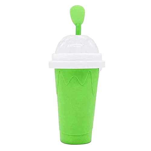 TOOARG Vaso para Hacer Granizado,Slushy Maker,Magic Batidos Congelados Rápidamente, Máquina de Hacer Batidos de Leche Casera Doble Capa para Niños y Adultos,Green