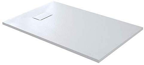 Piatto Doccia Spessore 2.6 Cm In Resina SMC Effetto Pietra Stone Ardesia Antiscivolo Riducibile Indistruttibile Filopavimento Arredo Bagno Con Griglia Di Copertura Colore Bianco (80 x 120 cm)