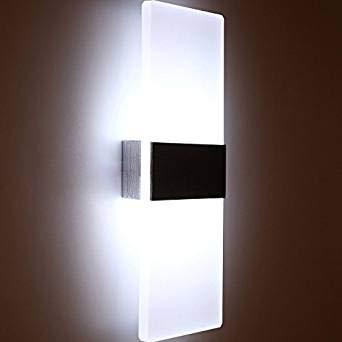 12W LED Wandleuchte Innen Weiss Up and Down Wandlampe Innenleuchten Wand Innen Wandlampe für Treppenhaus Wohnzimmer Korridor Schlafzimmer, Kaltweiss