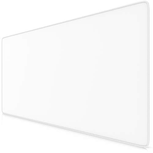 TITANWOLF - Tapis de Souris Gaming Blanc 900x400mm - sous-Main Bureau Gamer Extra Large XXL en Tissu, Base antidérapante - Précision, Vitesse et Confort - pour Tous Types de Souris et Claviers