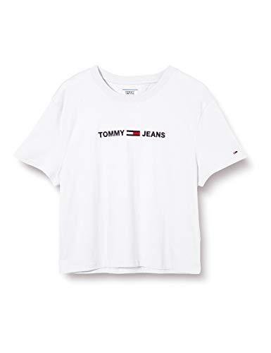 Tommy Jeans Damen Tjw Modern Linear Logo Tee Hemd, Weiß (White), XL