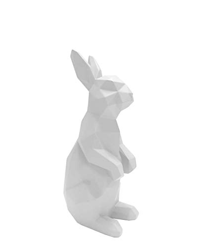 Present Time - Statue Lapin Debout Blanc Origami