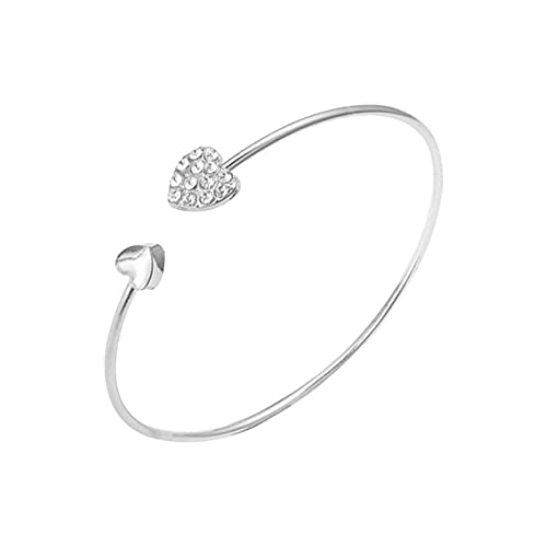CHIYANG 925 Sterling Silver Bracelets, Ladies Round Hollow Ring Bracelet Double Chain Party Wedding Accessories Jewelry Adjustable Charm Bracelet Daily Valentine's Day Gifts for Mom Women,2-Silver