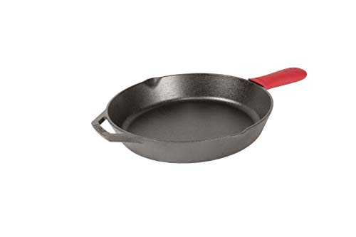 """Lodge Pre-Seasoned Cast Iron Skillet with Assist Handle Holder, 12"""", Red Silicone"""
