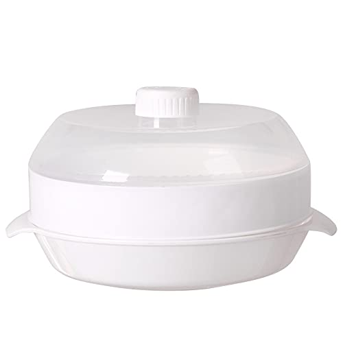 Soaying Vaporizador De Microondas Vaporizador Redondo De PláStico Horno De Microondas con Tapa Herramientas De Cocina, A