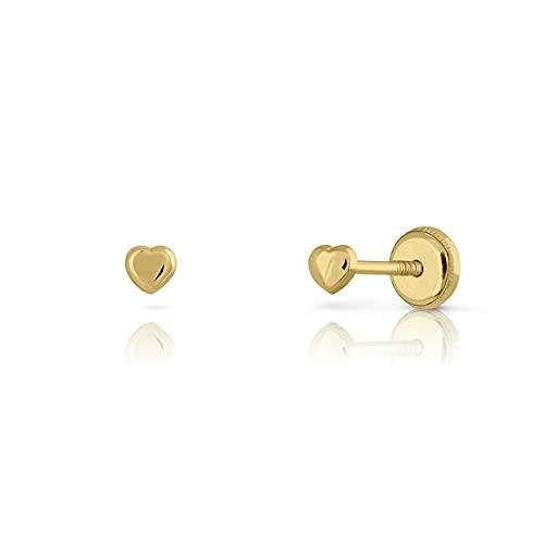 Pendientes Oro de Ley Certificado. Mini corazón. Niña/Mujer. Cierre de rosca. Medida 3 mm. (4-3319-3)