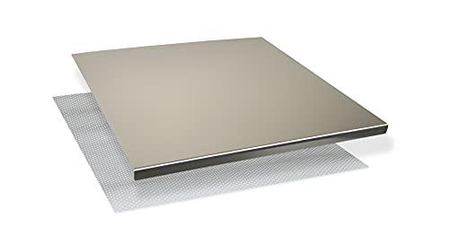 INOXLM Tagliere Spianatoia per impastare Piano da Lavoro in Acciaio Inox Varie Misure per Cucina per Bar per Ristorante per impastare (50x50 Piega 2 cm)