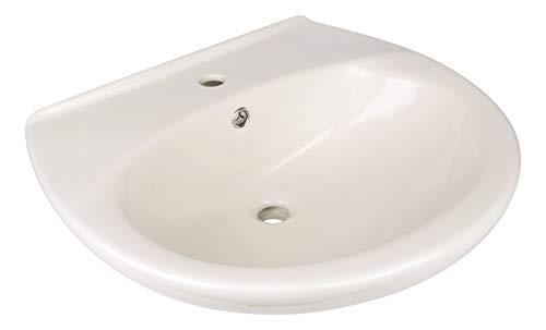Calmwaters® - Waschbecken in Pergamon aus Keramik mit Überlauf & Hahnloch mit Breite von 60 cm zur Wandmontage - 05AB2299