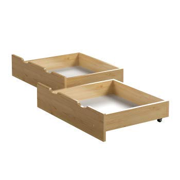 Children\'s Beds Home - Cajones dobles - Almacenamiento debajo de la cama - Tamaño 190x90, Color Roble Claro
