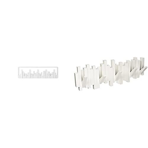 Umbra 318211-660 Perchero decorativo de pared Sticks, Blanco + 318190-660 Percha 5 Ganchos, Color Blanco