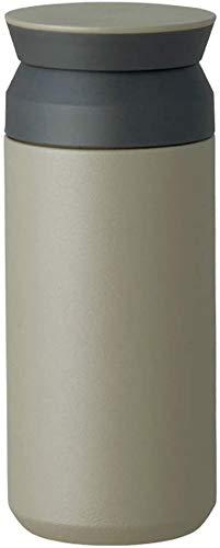 Kinto Reisebecher 350 ml/500 ml, Wasserflasche, vakuumisolierte Thermosflasche, Sportflasche, edelstahl, khaki, 350ml