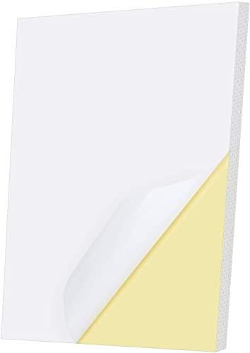 A4 Etichette Adesive,50 PCS Carta da Stampa Lucida Etichetta Autoadesiva Carte Stampabili in Vinile per Creazione di Etichette Artigianali Forniture per Ufficio per Stampante Laser