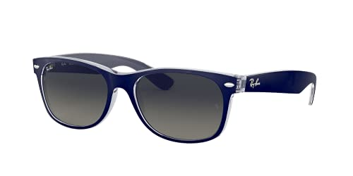 Ray-Ban RB2132 New Wayfarer - Gafas de sol con espejo, Azul (Parte superior azul mate en tránsito.), 55 mm