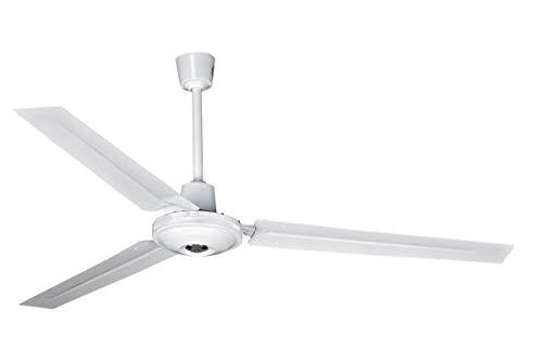 Ventilador de Techo con 5 velocidades de Intensidad (regulador de Pared) - Ventilador Blanco de 140 cm de diámetro 65w - 3 aspas