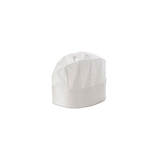 Chapeau Grand Chef en Papier Fermé Réglable 20 Pièces - 20 cm - Jetables avec Absorbeur de Bande - Avec Adhésif pour Ajuster la Taille - Transpiration et Confort Maximum