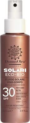 Domus Olea Toscana Fluido Solare Naturale Viso & Corpo SPF30 Protegge con filtri puramente minerali• Resistente all'acqua • Rapporto UVA / UVB bilanciato • Senza effetto bianco