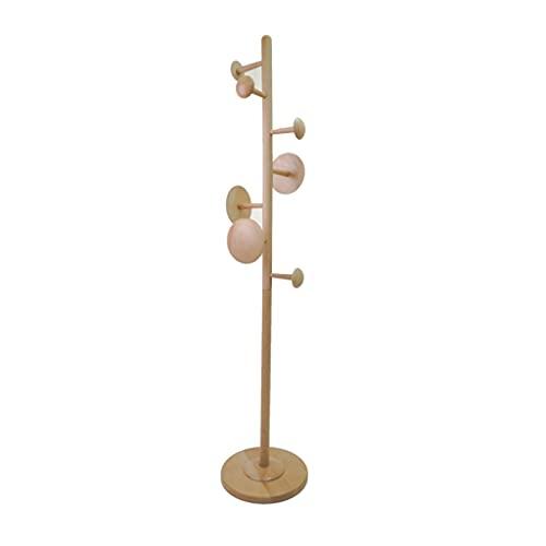 Perchero de Pie Log Capa Rack Ropa de madera Sombrero Sombrero Pendiadora Simple Perched Hall Hall Arejese con 7 ganchos Easy Montaje Decoración para el hogar Perchero para Abrigos ( Color : Wood )