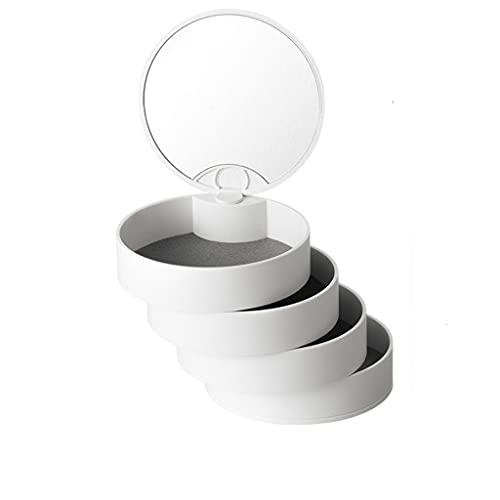 Almacenamiento de joyas Oganizer Caja de almacenamiento de joyería giratoria, caja de almacenamiento de soporte de pantalla múltiple para collar Anillo de orejas con caja de joyería de espejo Para niñ