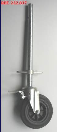 Rueda de andamio convencional con husillo con aro de goma 200 X 40 MM carga 200 kgs(CAJA DE 4 UNIDADES)