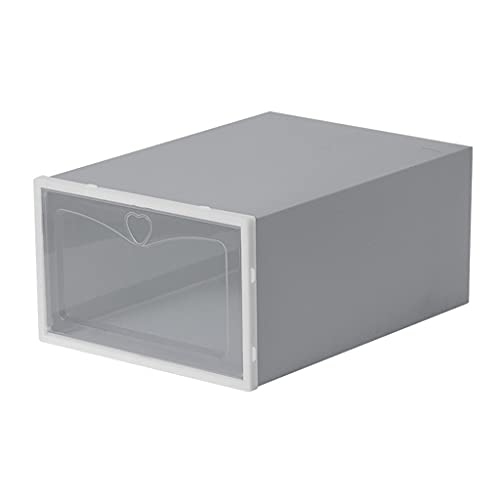 ColourQ - Caja de 4 cajones con tapa para zapatos (plástico transparente, apilable, con tapa, para mujeres y hombres