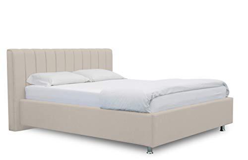 ES Design 08 gestoffeerd bed Antony met 5 jaar garantie, een hoogwaardig bed, lattenbodem en opbergruimte (beige, 140 x 200 cm)