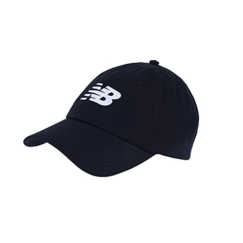 New Balance Men's and Women's 6-Panel Curved Brim Snapback Hat, All Black