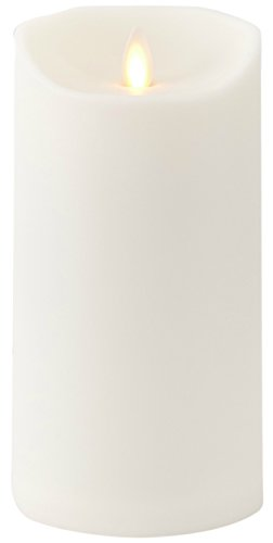 Liown Outdoor Moving Flame Candle: LED Battery Operated Waterproof Plastic Flickering Indoor Outdoor Flameless Candles with Timer (7' Ivory)