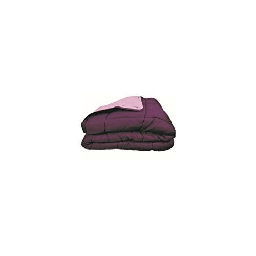 Poyet Motte Calgary Steppdecke, Polyester, Taupe/Leinen, Polyester, Prune/Parme, 200x200x1 cm