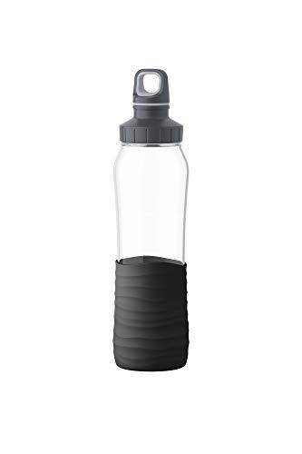 Emsa N3100100 Drink2Go Glas Trinkflasche (Fassungsvermögen: 0,7 Liter, Schraubverschluss) Schwarz