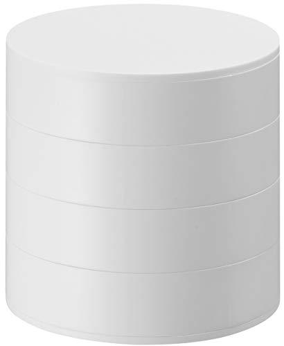 山崎実業 ジュエリーボックス 蓋付き アクセサリートレイ 4段 ホワイト 約W10XD10XH10cm タワー 4068