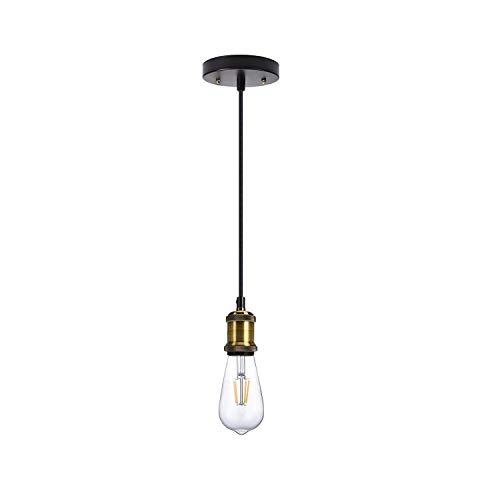 ndustrial Mini Pendelleuchte Einzelne Vintage Fassung E26/E27 Lampenfassung Edison Glühbirne Sockel schwarz gewebter Stoff Hängeleuchte Kordel verstellbar Hängeleuchte Kit für