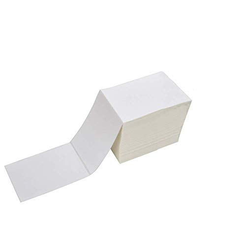 Fanfold 4 x 6 Direct Thermal Shipping Labels with Perforations, 1000 Labels, Permanent Adhesive, White Mailing Labels for Zebra Thermal Printer