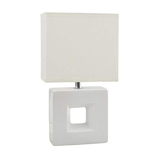 BYDXZ / moderne, Scandinavische, minimalistische, modieuze porseleinen led-bureaulamp, led-nachtlampje met kubieke lampenkap, gemaakt van porselein en textiel lampenkap voor slaapkamer, studie, decoratie, geschenk, wit