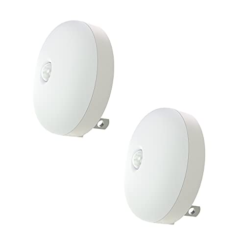 Motion Sensor Night Light, Plug-in Wall Night Light, Smart Movement Sensor, Auto On Off, Slim, for Bedroom, Bathroom, Kitchen, Hallway, Stairways, Soft Warm White, 2 Pack