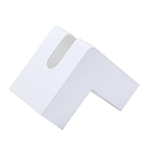 Soporte para caja de pañuelos, soporte creativo para almacenamiento de pañuelos en la esquina, caja dispensadora de pañuelos faciales de mesa para decoración de baño de oficina y cocina,Blanco