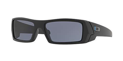 Oakley GASCAN OO9014 Sunglasses For Men + Accessories Bundle (Matte Black/(Matte Black/Grey/Blue Line on Oakley Logo (901411), 60)