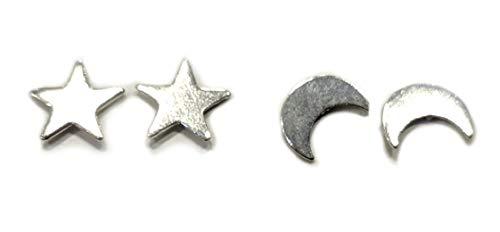 Disfraz MI3032S – Pendientes de luna y estrella chapados en plata