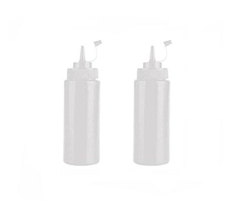 Elandy 2PCS plastica Trasparente Salsa di condimento Bottiglie Contenitore di condimento Dispenser per Ketchup Salsa di Senape Crema di aceto Miele condimento per l'insalata (400ml)