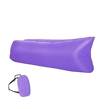 Retoo Canapé gonflable imperméable 190 x 70 cm avec sac de transport compact, canapé gonflable et tissu indéchirable jusqu'à 200 kg, idéal pour le camping, la mer, la plage, le salon d'air, violet