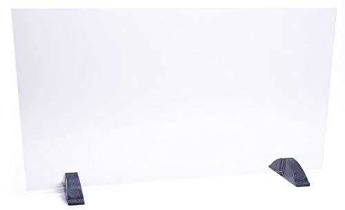 DHE Spuckschutz ohne Durchreiche, Hustenschutz Niesschutz Hygieneschutz, Thekenaufsatz Tischaufsatz Tresenaufsatz, Kunststoffglas (100 x 50cm)