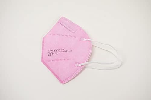 YUNYIFU FFP2 Maske rosa - pink | Mundschutz Maske FFP2 | ISO + CE zertifiziert | Atmungsaktiv | 10 Stück einzeln verpackt (Rosa)