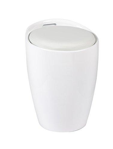 HNNHOME Gloss ABS Faux Leather Seat Kitchen Bathroom Storage Ottoman Stool (White)