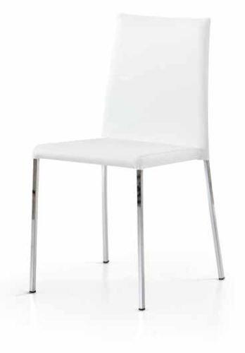 Legno&Design Lot de 2 chaises modernes en acier chromé pour cuisine, bar, restaurant, tapissé, similicuir blanc