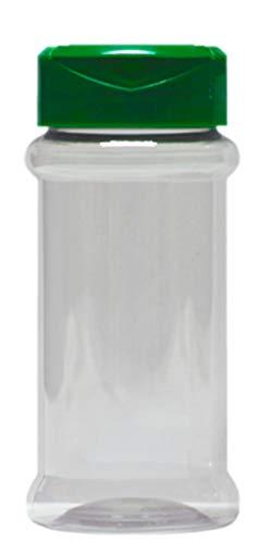 Lot de 10 pots à épices vides en PET de 100 ml avec protection UV et bouchon vert à double flap.