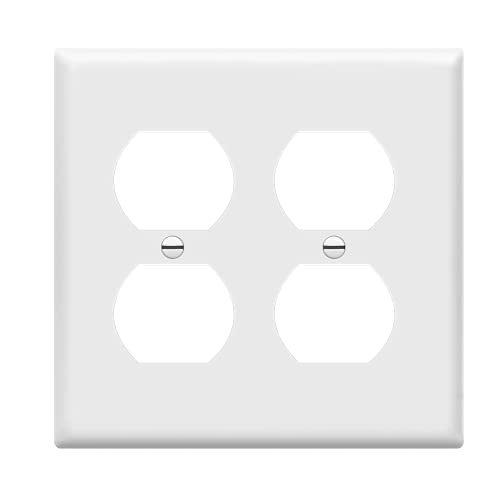 Enerlites 8822-W Duplex Receptacle Outlet Wall Plate, Standard Size 2-Gang, Polycarbonate Thermoplastic, White