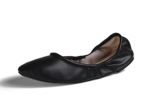 GENSHUO Women s Flexible Slip on Round Toe Ballerina Ballet Flats Comfortable Soft Prom Date Formal Fashion Dress Shoes for Work Matte Black 10